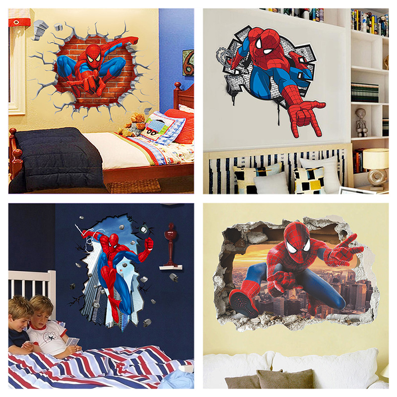 Super Heroes 3D Avengers Broken Hole Wall Stickers Art Decals Home Decor Posters