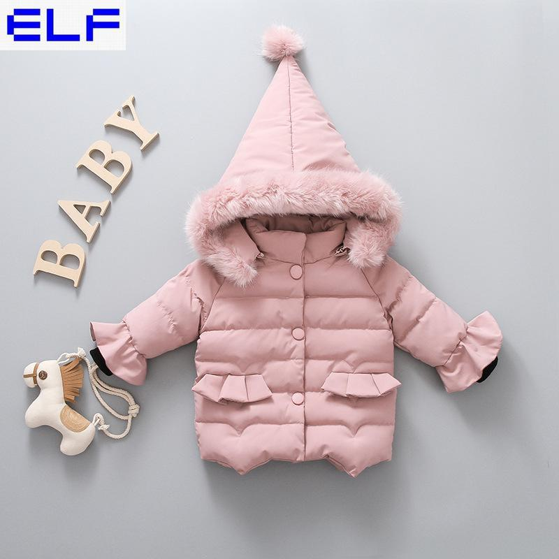 Baby Girl Winter Coat Children Thick Cotton Padded Jacket Toddler Kids Winter Real Fur Coat Very Cute Outerwear Baby Clothing 1pcs cute baby panda animal coverall clothing cotton padded winter footies n01