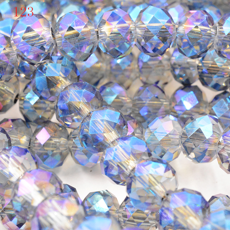 145 Pcs Blue AB Crystal Faceted Gems Loose Beads 3*4 mm DIY jewelry