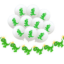 New Year Crown Dinosaur Hanging Flags 12 inch Balloons Happy Birthday Party Decorations Kids Cartoon Hat Bunting Banner Decor(China)