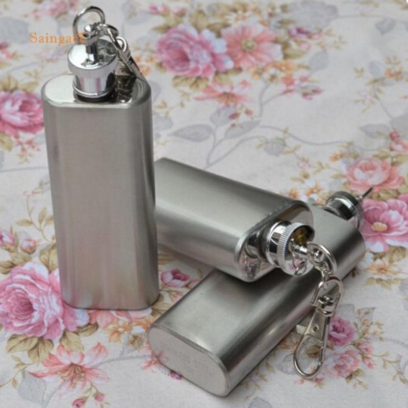 2oz Mini Stainless Steel Pocket Hip Flask Alcohol Flagon Funnel Wine Tube