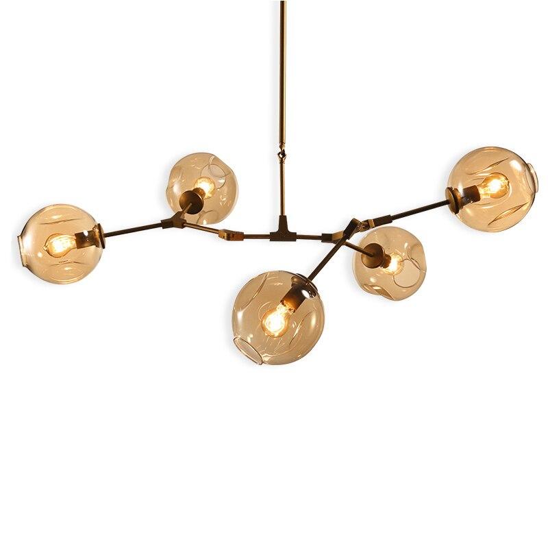 3/5/7/9/11/13 light Globe Branching Bubble Chandelier light Kung black gold aluminum body glass Modern Light E27 6W led lamp globe shaped aluminum shell precise compass