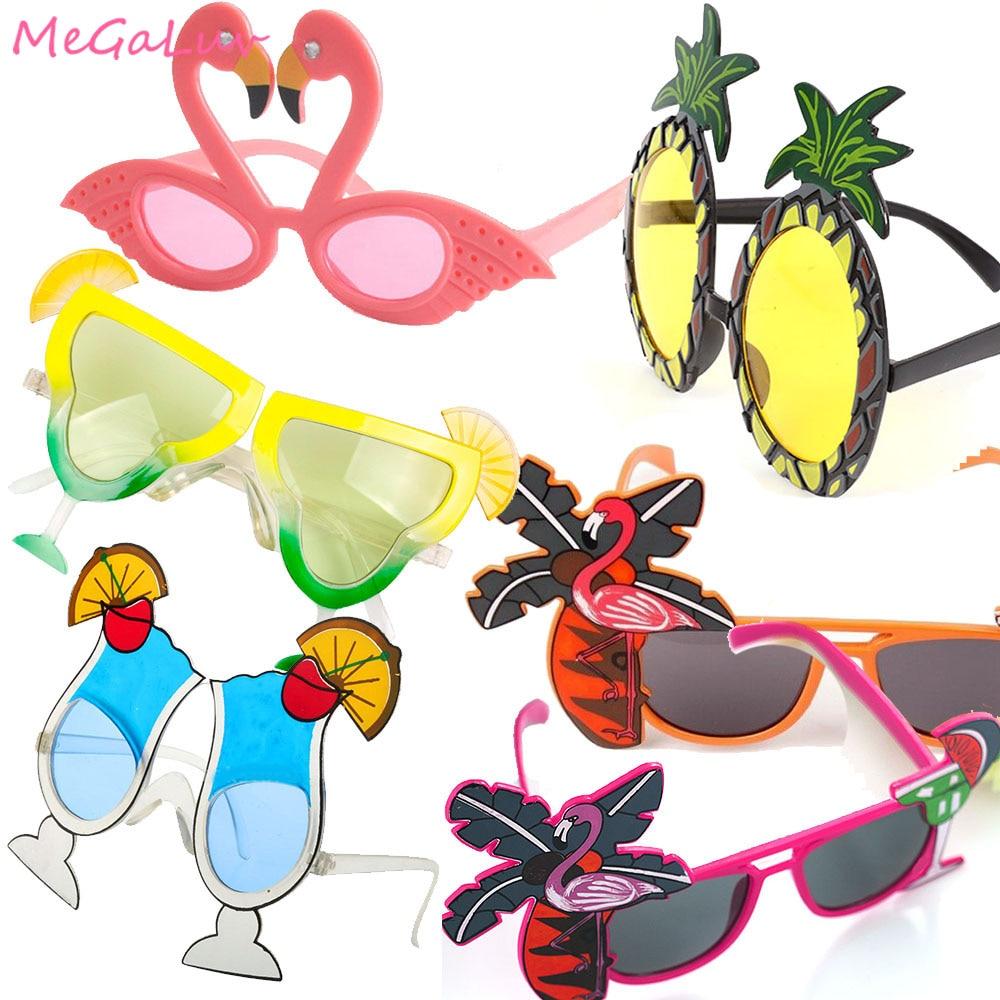 6PC Hawaii Tropical Geburtstag Dekoration Sonnenbrille Flamingo Party Decor Ananas Sonnenbrille Hawaiian Pool-Party Liefert