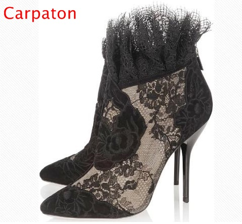 Sexy Transparent Lace High Heels Elegant Ankle Embroidery Flower Thin Heel Boots 2017 Newest Woman Party