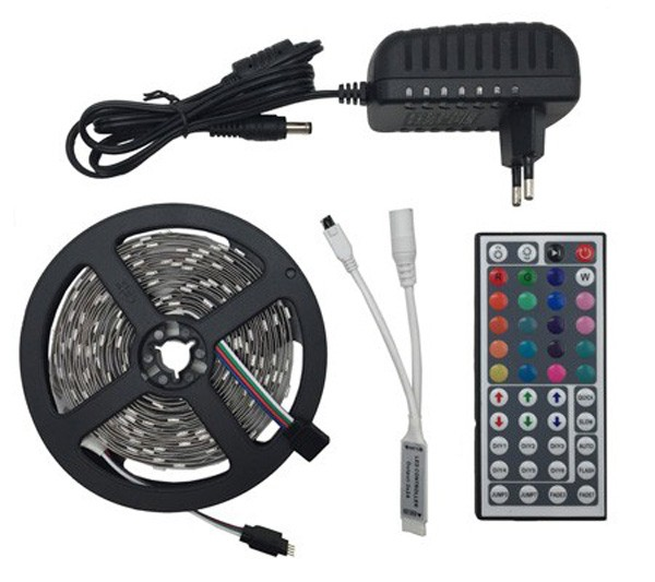 ZAHORIO LED Strip Light RGB LED 5050 SMD 2835 Flexible Ribbon RGB Stripe 5M 10M 15M tape diode DC 12V+Remote Control+ Adapter EU7