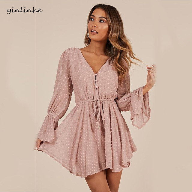 yinlinhe Sexy Transparent Playsuit Summer Bohemian Beach Overalls Pink Polka Dot Short Jumpsuit Women Rompers Long Sleeve    768 1