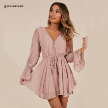 yinlinhe Sexy Transparent Playsuit Summer Bohemian Beach Overalls Pink Polka Dot Short Jump