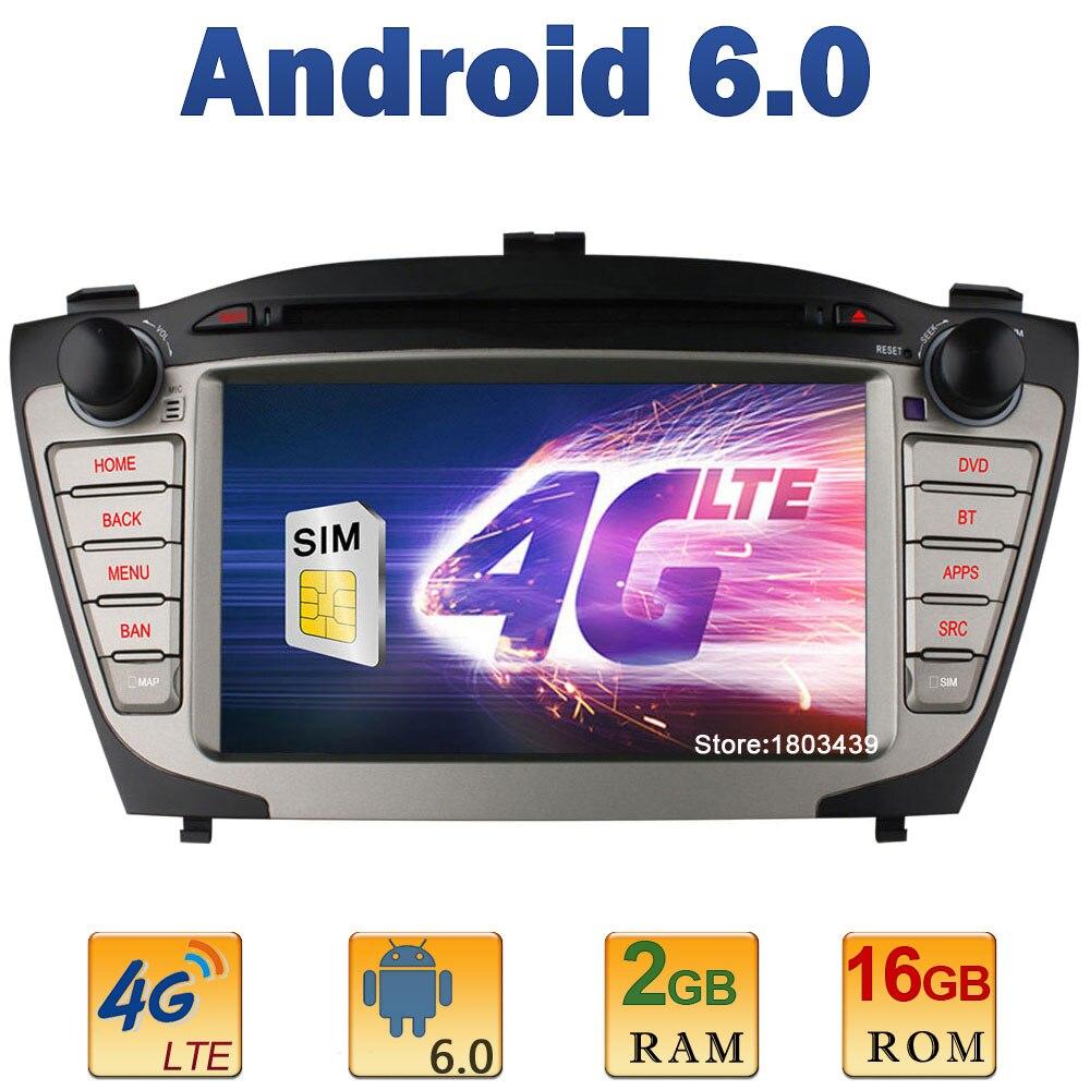7″ Quad Core 2GB RAM 4G LTE SIM WIFI Android 6.0 Car DVD Player Radio Stereo For Hyundai IX35 Tucson 2009-2015 GPS BT AUX DAB+
