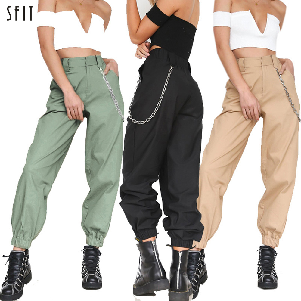 SFIT Women Cargo Elasticated Trousers Link Chain Street Wear Trousers Loose Women Moto Joggers High Waist Pants Sweatpants