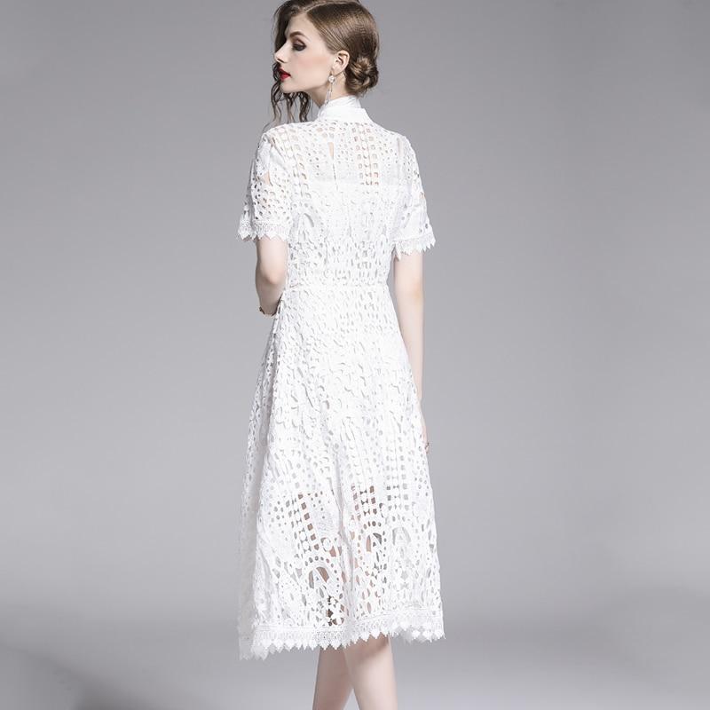 Elegant White Black Lace Hollow Out Dress 9