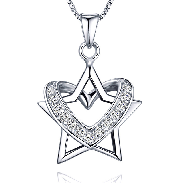 Wholesale 925 sterling silver star shaped necklace pendantwomen wholesale 925 sterling silver star shaped necklace pendantwomen silver star and heart pendant mozeypictures Image collections