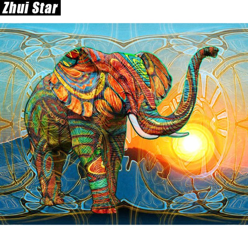 "Full Square Diamond 5D DIY Diamantmaleri ""Fargerik Elefant"" Broderi Kors Stitch Rhinestone Mosaic Painting Decor Gift"