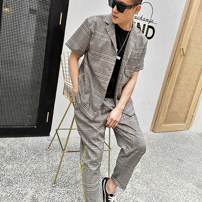 M 6XL!! retro casual xadrez manga curta conjunto de camisa de colarinho solto camisa de cabelo estilista maré britânica. - 2