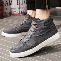 New 2019 Fashion High Top Men's Denim Shoes Breathable Casual Canvas Shoes Man Rubber Sole Skate Footwear