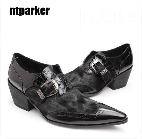 Motiviert Ntparker 6,5 Cm Heels Schwarz Spitz Erhöht Höhe Mann Der Leder Schuhe Mann Leder Schuhe Für Mann Party/ Hochzeit/business Schuhe