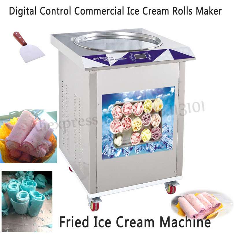 цена на Fried Ice Cream Roll Machine Commercial Thai Rolled Ice Yogurt Maker Single Pan 550mm Digital Temperature Control Defrost