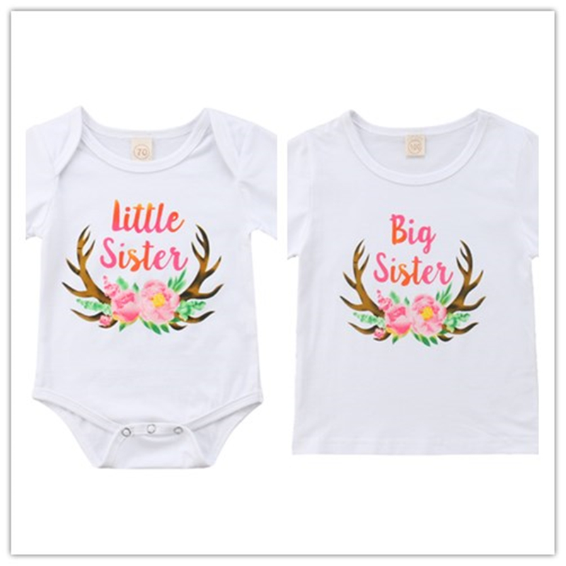 Big//Little Sister Newborn|Kids|Baby|Boy Romper Bodysuit Sunsuit Clothes Outfits