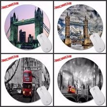 New High Quality London Bridge And Bus Pattern Durable Gaming Optical Computer Mouse Mat Mice Pads Soft Silicone Round Mouse Pad(China)