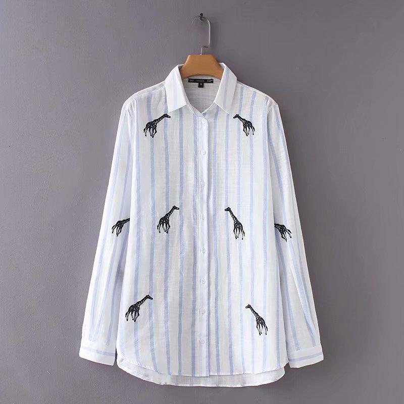 2018 Frauen Vintage Langarm Tier Stickerei Gestreiften Büro Tragen Leinenhemd Blusen Streetwear Chic Feminine Tops Ls2373