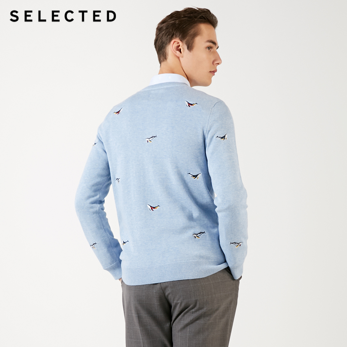 Image 4 - SELECTED Mens 100% Cotton Animal Embroidery Pullovers Sweater New Casual Knit Clothes C  419124539Pullovers
