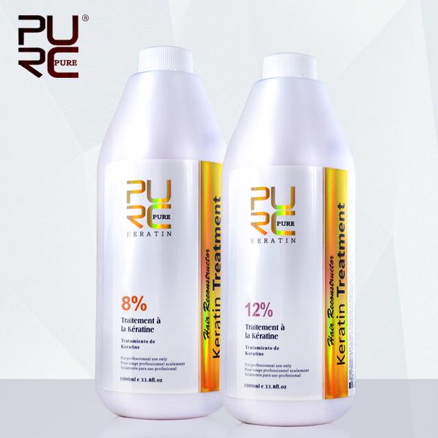 1000ML de chocolate brasileño tratamiento de queratina 8 % formaldehído enderezar y 12 % para el tratamiento de la queratina del pelo rizado profundo