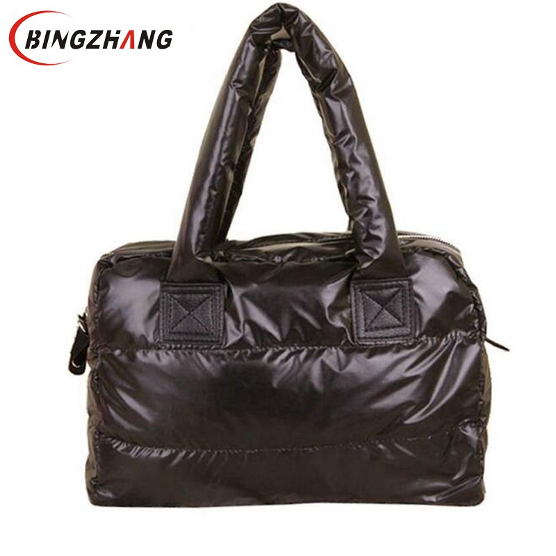 2018 Winter Space Bale Woman Cotton Totes Feather Down Shoulder Bag birthday gift Designer lady handbag L8-17