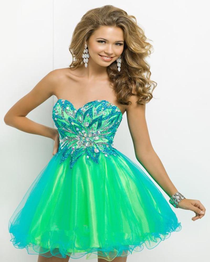 Stunning Sweetheart Sequined <font><b>Appliques</b></font> Beaded <font><b>Tulle</b></font> Green Mini Short Prom <font><b>Dresses</b></font> Vestido De Formatura