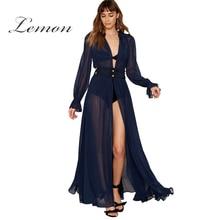 Lemon 2017 лето оборками из шифона dress женская одежда алмаз плиссированные макси платье элегантный sweet сексуальное отвесное женщины dress