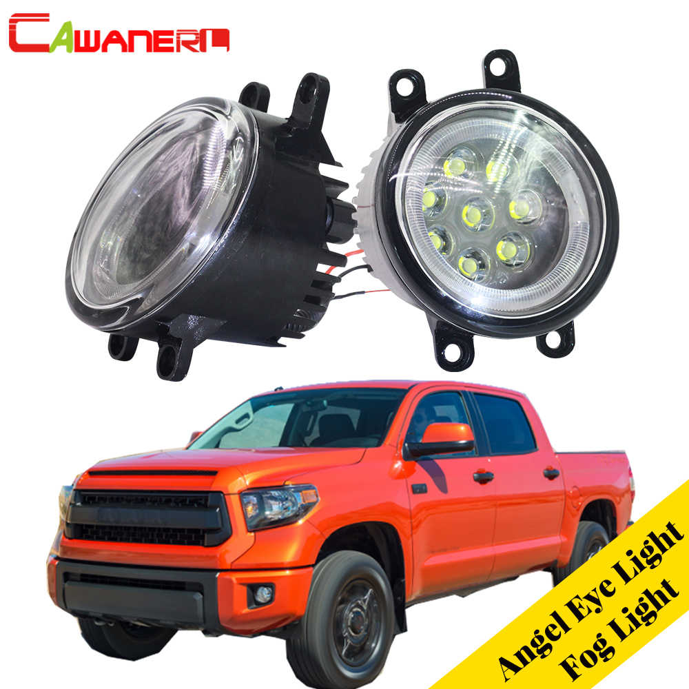 Cawanerl 2 Pieces Car LED Bulb External Fog Light Angel Eye Daytime Running Light DRL 12V For Toyota Tundra 2014 2015 2016
