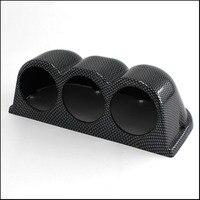 Car Gauge Pod Universal ABS Carbon fiber Double Car Gauges Holder for Dual Car Dash Mount 2.25 Inch 60mm 3 Holes