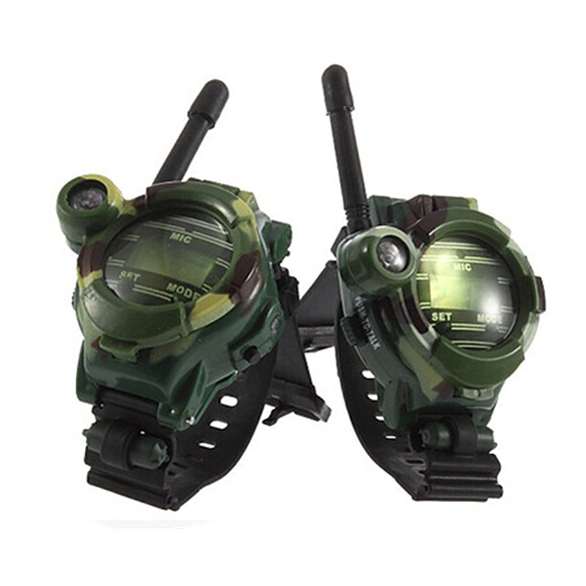 1 Pair Watches Walkie Talkie 7 in 1 Children Watch Radio Outdoor Interphone Toy For Children Gift Parent-child Interaction Game 2pcs mini walkie talkie uhf interphone transceiver for kids use two way portable radio handled intercom free shipping