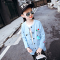 Children's Wear New Autumn Girls Korean Baseball Uniform Long Sleeve Long Trench Coat Kids Clothing Cotton Red Blue Pink