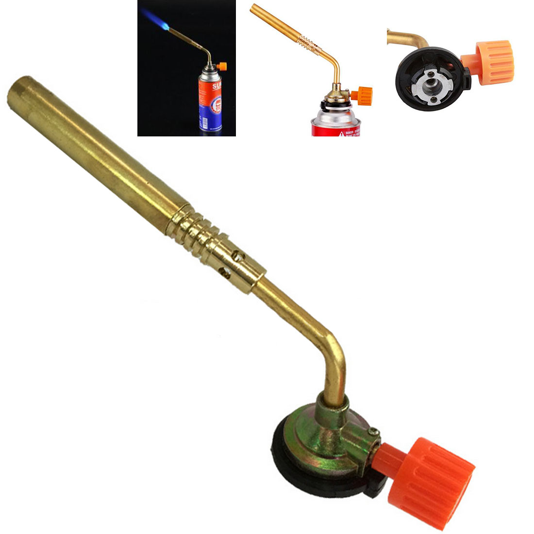 Manual Card Welding Torch Flamethrower Burner Butane Gas Blow Torch Hand Ignition Camping Welding BBQ Tool Gas Torch