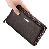 Leather Vintage Solid Clutch Bag Phone and Card Brand Mens Wallet WILLIAMPOLO Double Zipper Genuine Leather Handy Purse