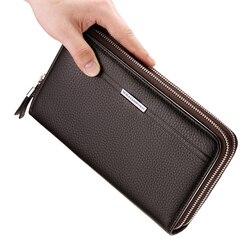 Lederen Vintage Solid Clutch Bag Telefoon en Kaart Merk Heren Portemonnee WILLIAMPOLO Dubbele Rits Echt Leer Handy Portemonnee