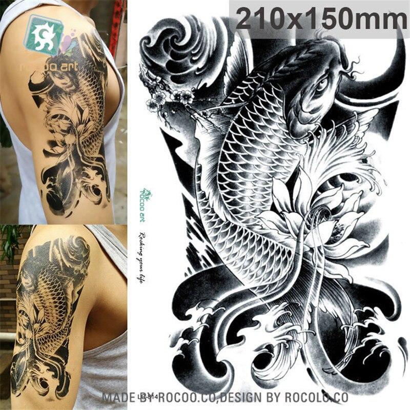 Waterproof Temporary Tattoos For Men Women Black Sketch Carp Design Large Tattoo Sticker Free Shipping LC2814