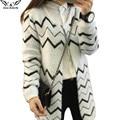 2017 de alta calidad de otoño e invierno Femenina cardigan mujeres suéter de Punto de Algodón Del O-cuello Ocio cardigans suéteres de las mujeres