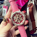 7 Colors! Women Real Leather Watches Lady Shining Rotation Dress Watch Big Diamond Stars Wristwatch Lady Genuine Leather Watch