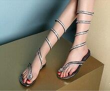 Summer style knee high gladiator sandals women Flat Sandals Snake Punk Rhinestone Boot Women Sandals size 4- Free Shipping