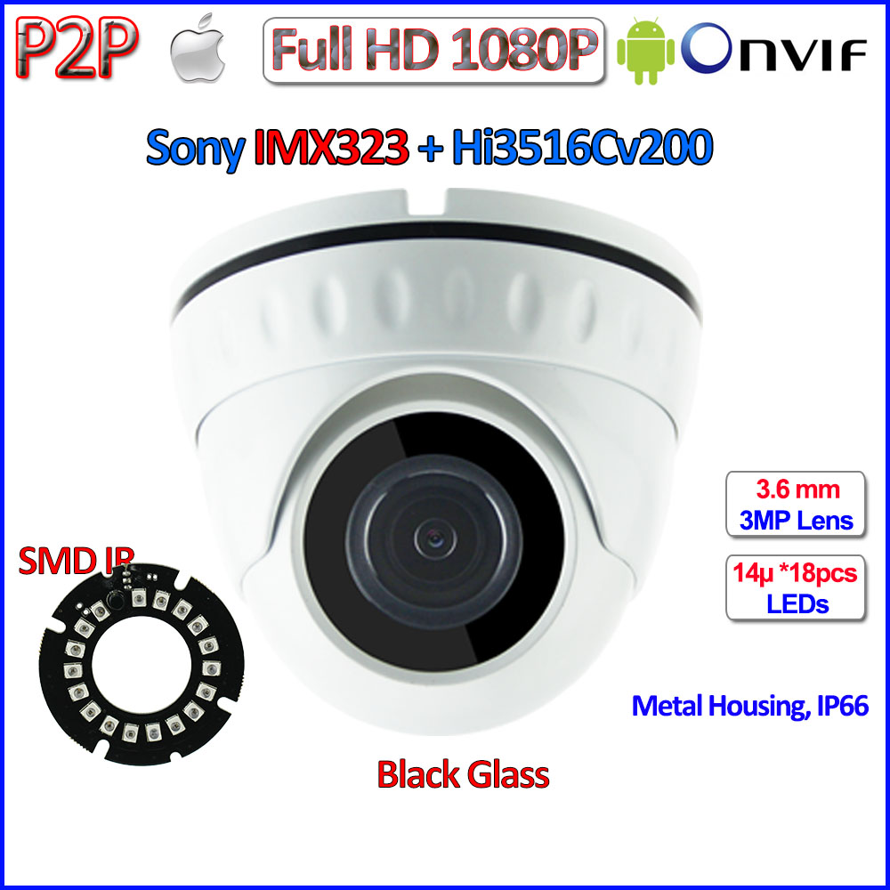 IMX323 Sensor 2MP CCTV camaras ip surveillance ONVIF 2.4 1080p ip camera Security 3.6mm HD Lens, 18pcs LEDs, H.264, IR-CUT, P2P