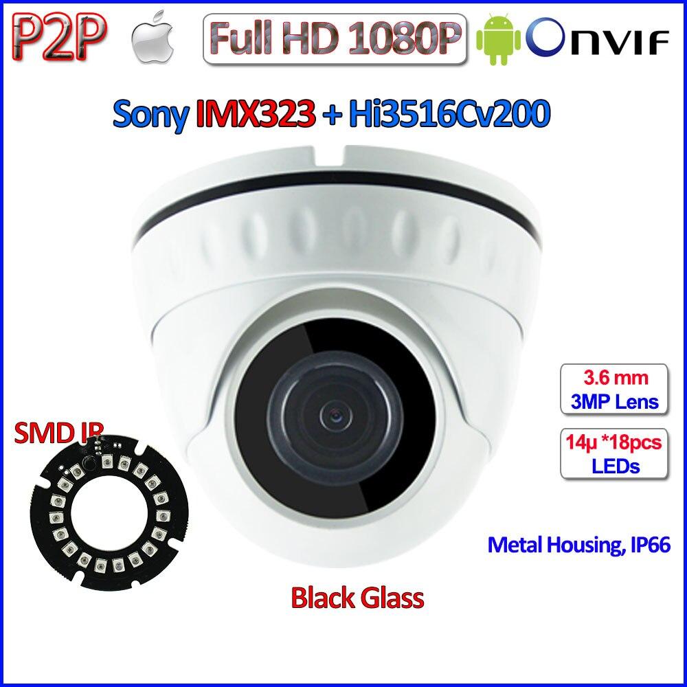imágenes para IMX323 Sensor de 2MP CCTV camaras de vigilancia ip ONVIF 2.4 1080 p ip cámara de Seguridad 3.6mm Lente HD, 18 unids LEDs, H.264, IR-CUT, P2P