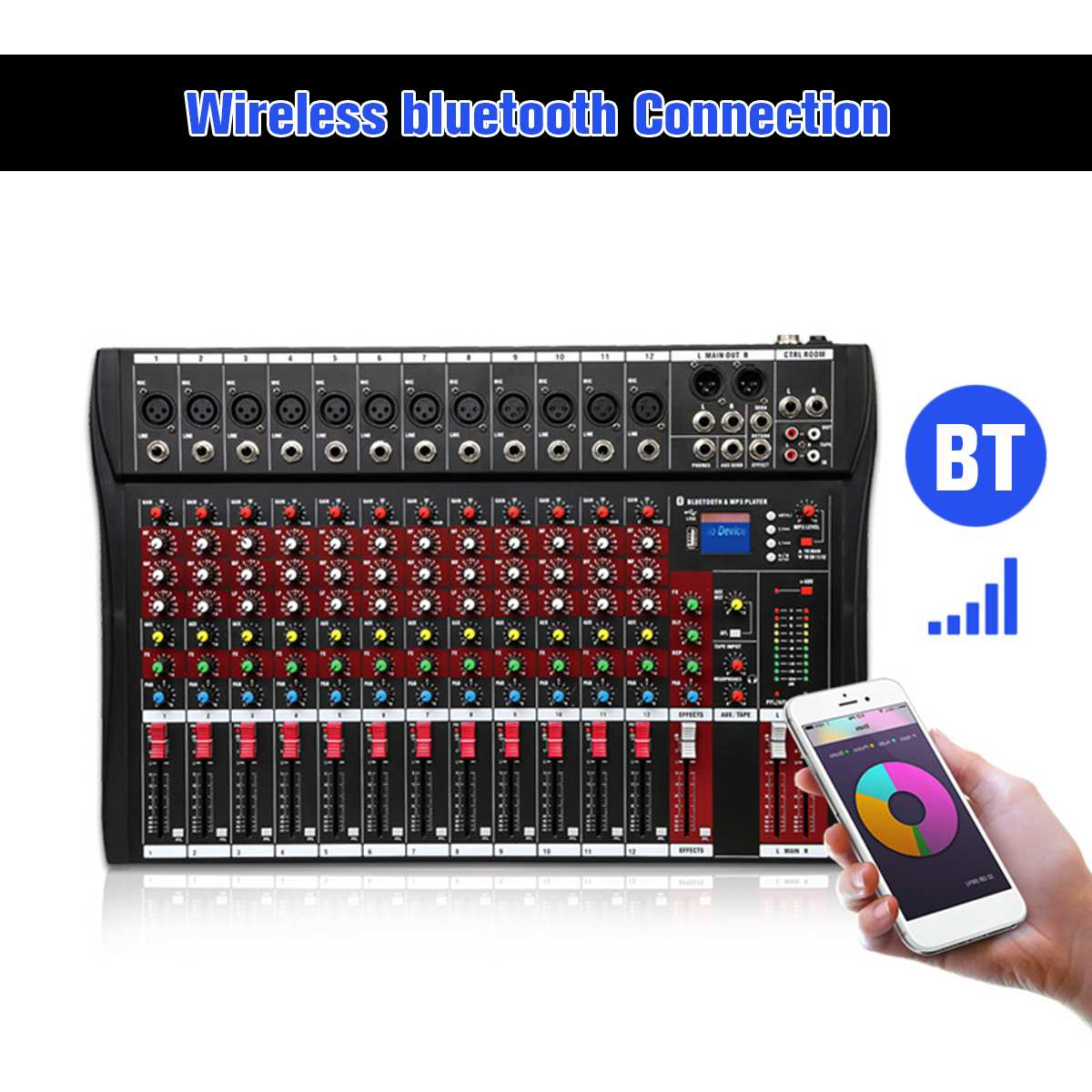 LEORY 48V 6 Channel Audio Sound Karaoke Mixer Phantom Power