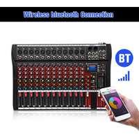 12/8 Channel Digital Microphone Sound Mixer Console with bluetooth USB 48V Phantom Power Professional Karaoke DJ Audio Mixer