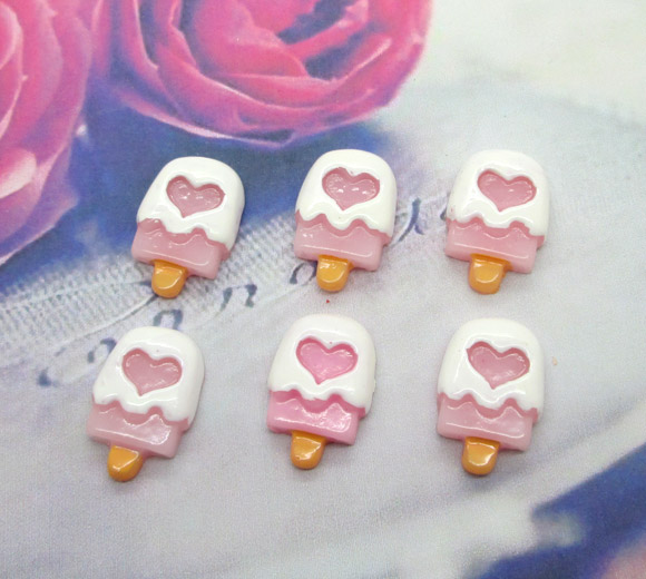 20Pcs Resin Pink Ice Cream Crafts Flatback Cabochon Scrapbooking Decorations Fit Hair Clips Embellishments Beads Diy