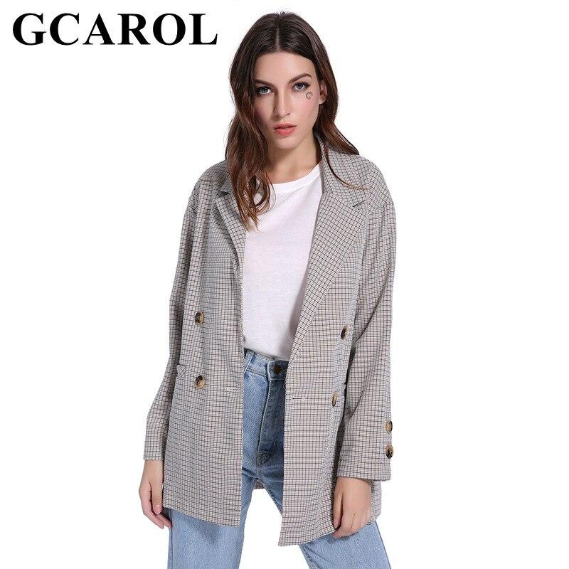 GCAROL 2018 Herbst Winter Tiefe Kerb Kragen Frauen Plaid Blazer Zweireiher 2 Taschen Mode Oversize OL Anzug Outwear