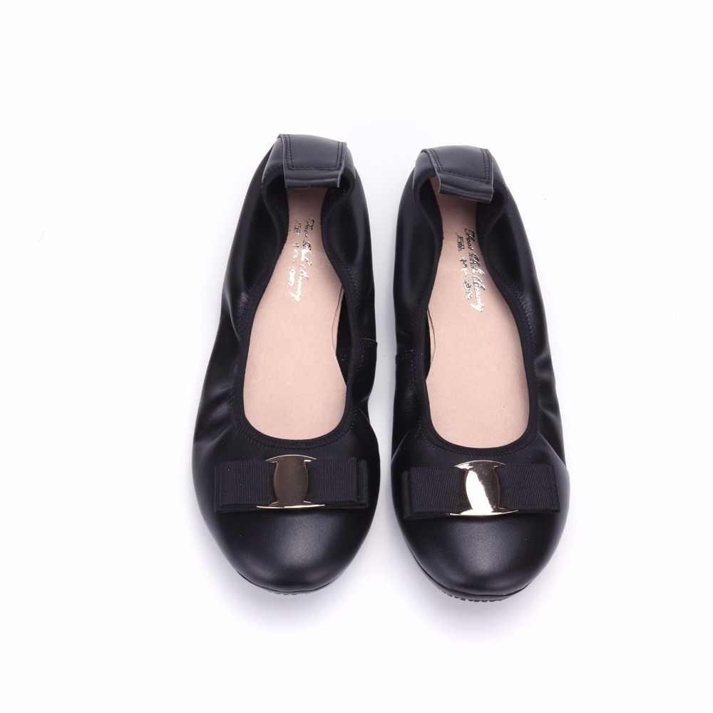 Giày thời trang nữ hiệu thoải mái bowknot Duy Nhất của phụ nữ giày Genuine leather Nữ Căn Hộ Ba Lê Giày sapatilhas