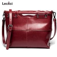 Lecxci Real Leather Top Handle Handbag Ladies Women Fashion Tote Shoulder Handbag With Shoulder Strap