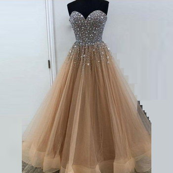 Sexy Elegant Sweetheart Evening Dress Long Sleeveless Tulle Sequins Prom Gowns Party Dresses Robe De Soiree