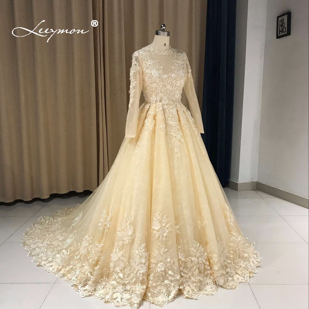 Leeymon μακρύ μανίκι Vintage δαντέλα νυφικό - Γαμήλια φορέματα - Φωτογραφία 2