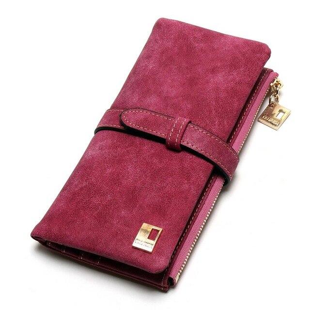 Теперь еще дешевле! Новые модные женские кошельки, кошелек из нубука на молнии, Женский Длинный дизайнерский кошелек, два сложения, много цветов, клатч - Цвет: rose red
